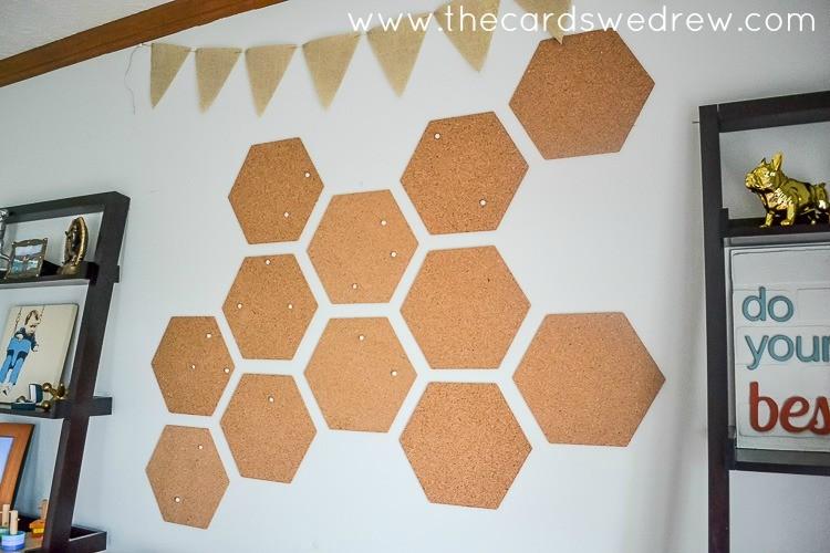 hexagon corkboard wall