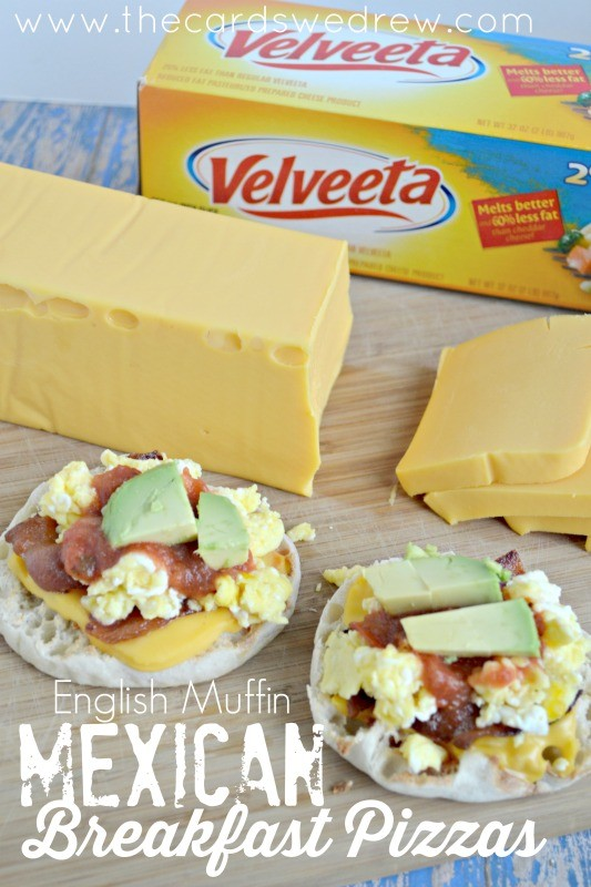 English Muffin Mexican Breakfast Pizzas with VELVEETA Cheese from The Cards We Drew