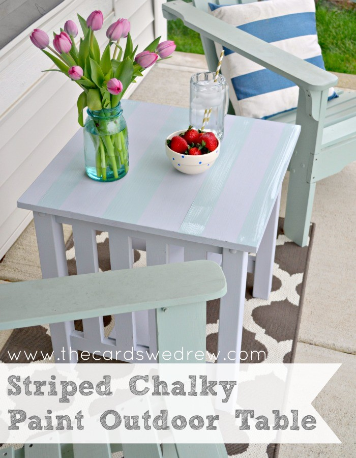 Striped Chalky Paint Outdoor Table