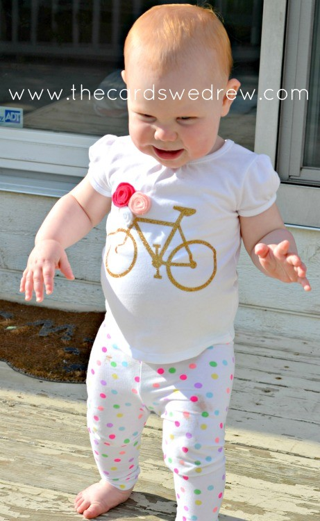 girl's gold bike tshirt with expressions vinyl