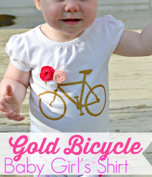 gold bicycle baby girl's shirt from The Cards We Drew