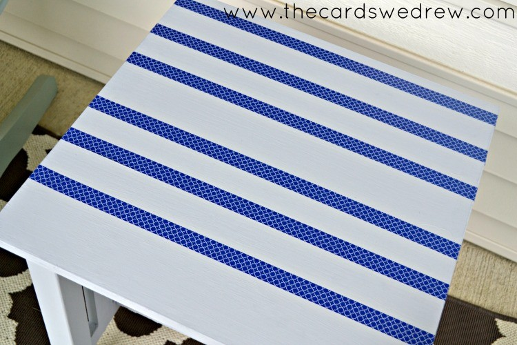 striped table makeover