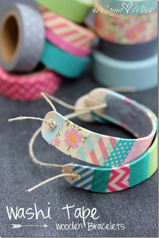 washi tape wooden bracelets