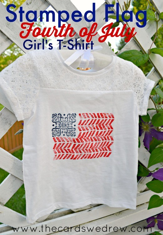 Stamped Flag Fourth of July Girl's Shirt