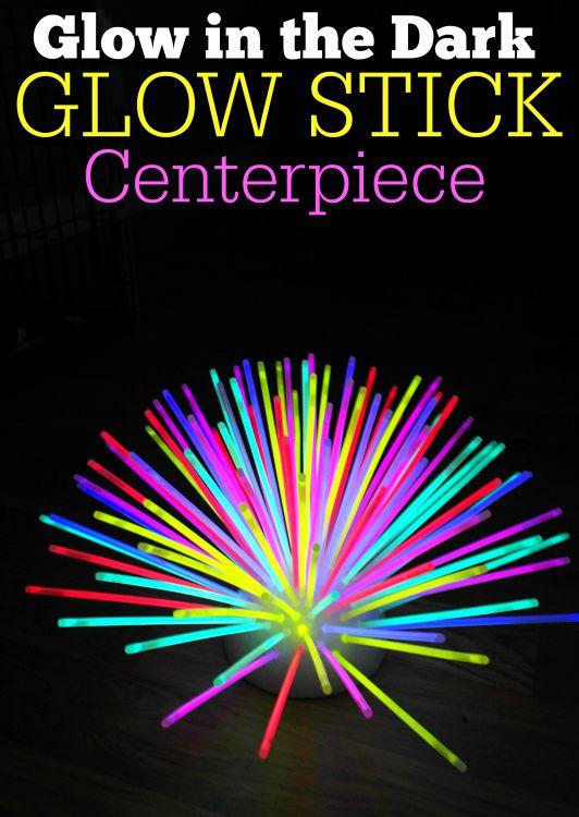 Glow in the dark glow stick centerpiece the cards we drew - Glow in the dark table ...