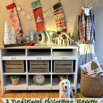 A Traditional Christmas Vignette with a Rustic Twist