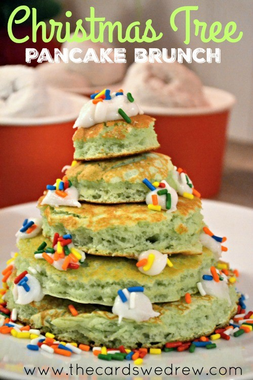 Christmas Tree Pancake Brunch Ideas using Aunt Jemima Original Pancake mix