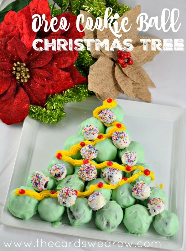 OREO Cookie Balls Christmas Tree using Peppermint Oreos #OreoCookieBalls #ad