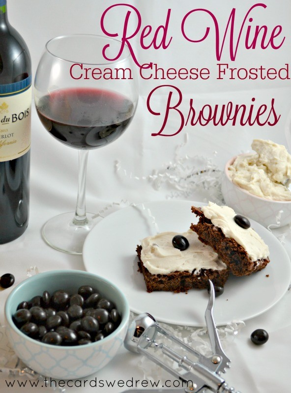 Red Wine Cream Cheese Frosted Brownies from The Cards We Drew