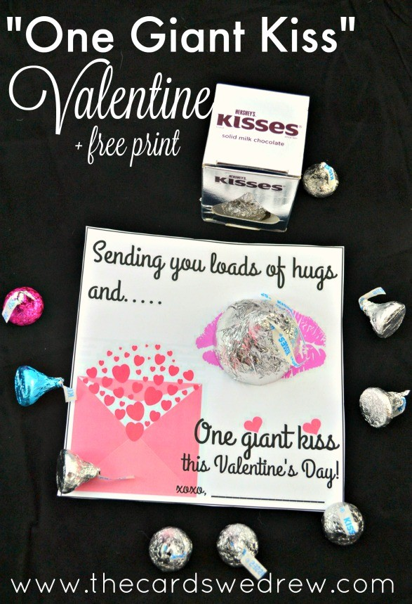 One Giant Kiss Valentine and Free Print from The cards We drew