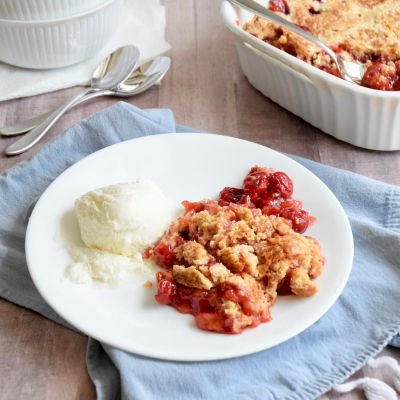3 Ingredient Cherry Cobbler with Cake Mix