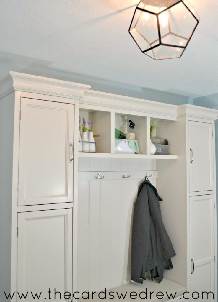 DIY mud room for laundry room