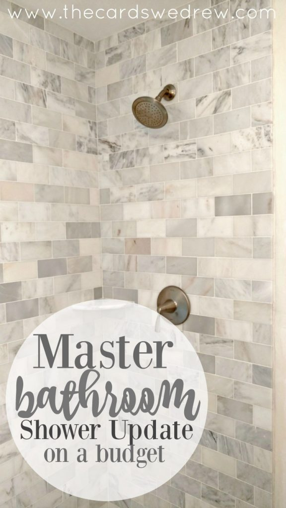 Master Bathroom Shower Update on a Budget from The cards We Drew