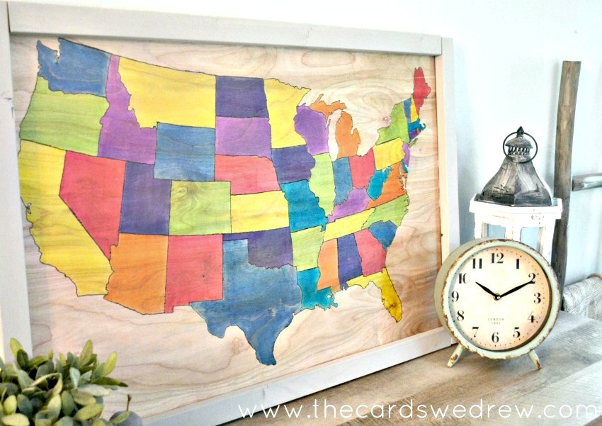DIY United States Map on wood