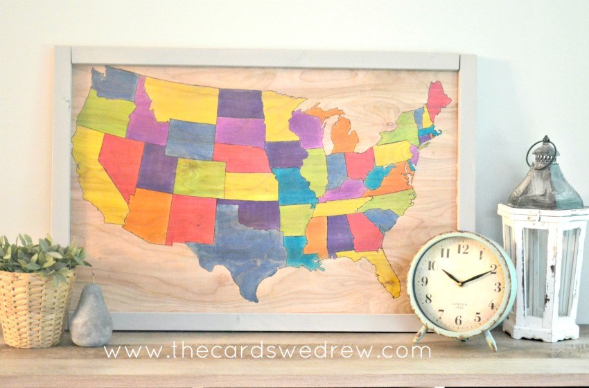 DIY United States Wood Map from The Cards We Drew