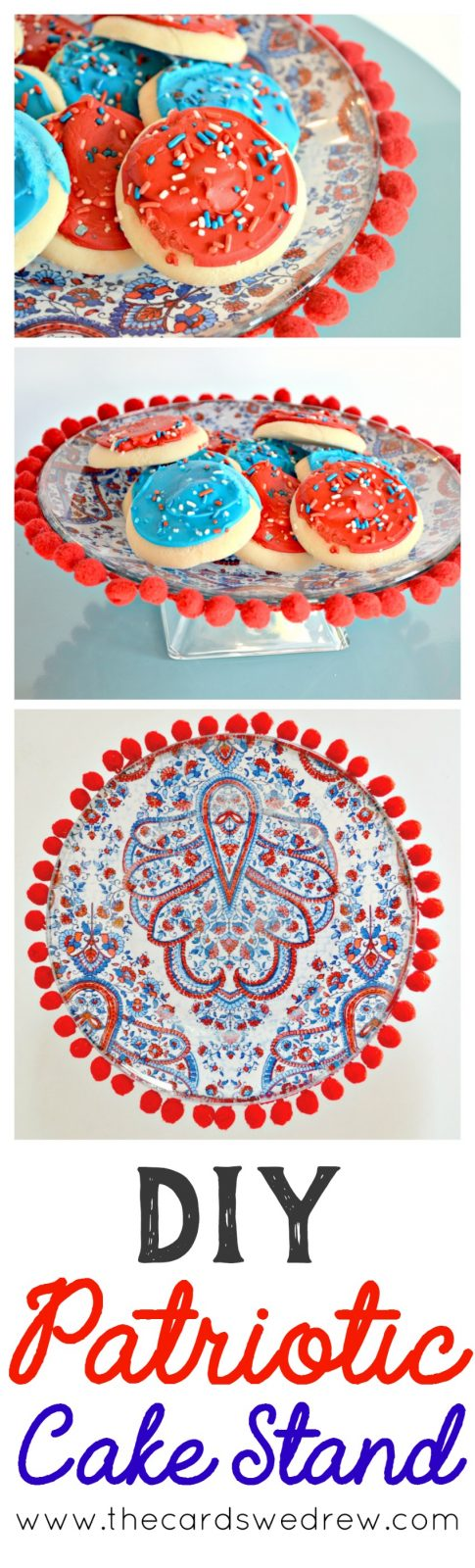 DIY Patriotic Cake Stand from The Cards We Drew