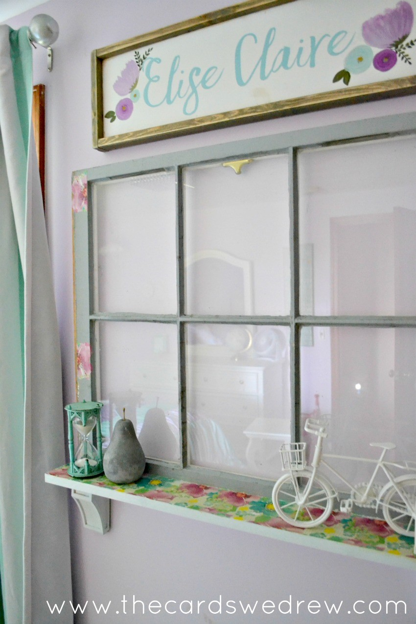 upcycled window shelf for girl's room