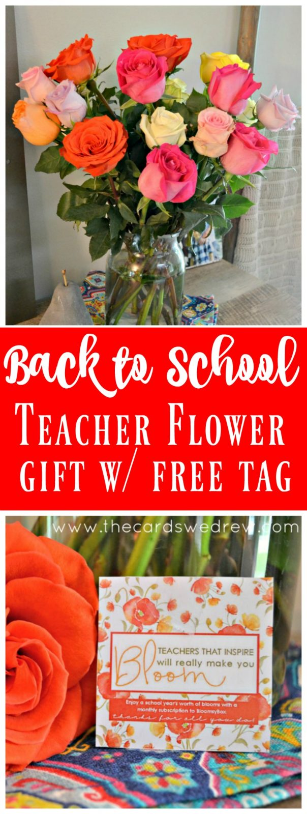 Back to School Teacher Flower Gift with Free Printable Tag