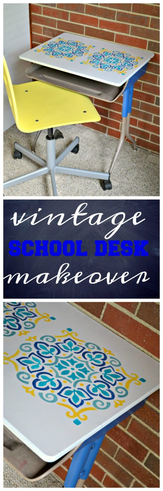 Vintage School Desk Makeover from The Cards We Drew