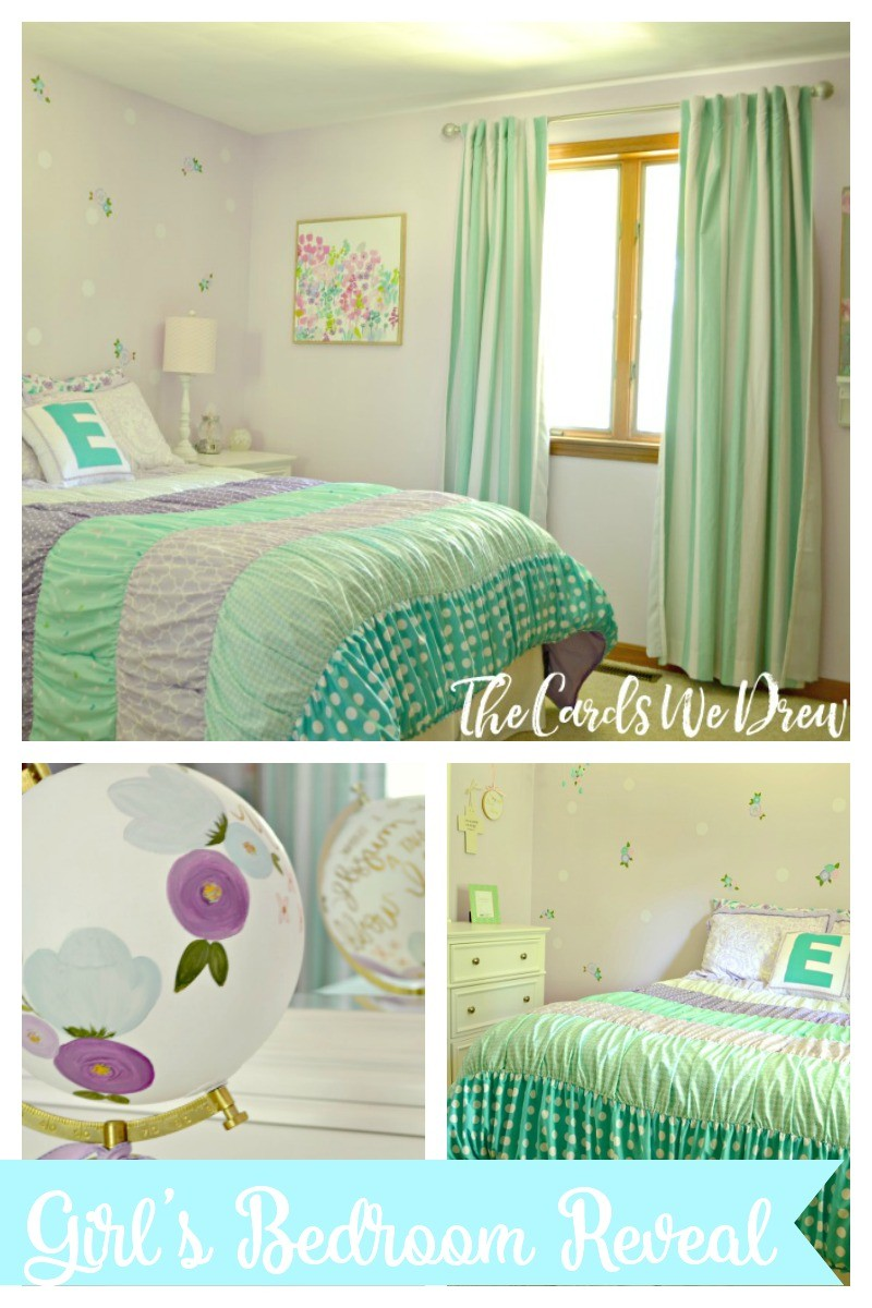 Teal and Lilac Girl\'s Bedroom Reveal - The Cards We Drew
