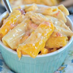 Crockpot Cheesy Chicken Rigatoni