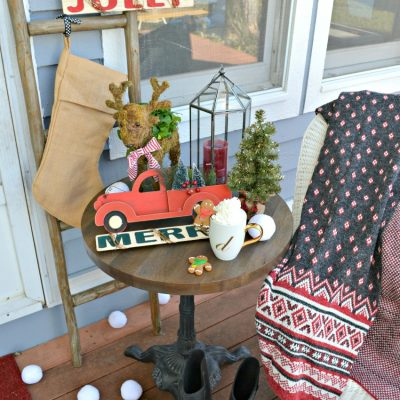 Simple and Rustic Christmas Porch
