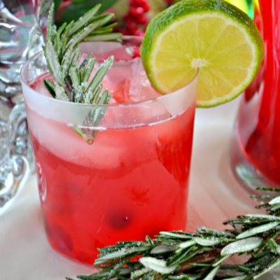 Cranberry Lime Vodka Christmas Spritzer