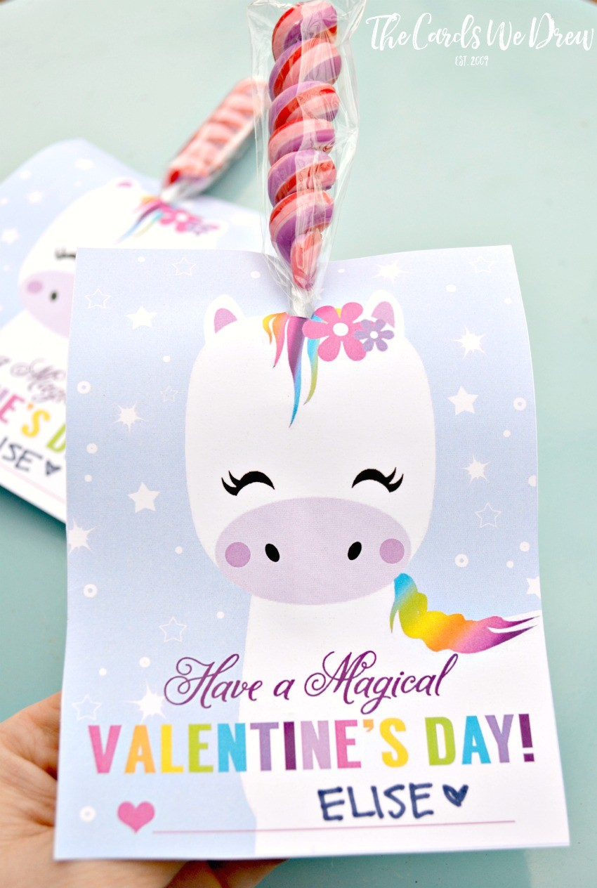 graphic about Free Printable Unicorn Valentines known as Magical Unicorn Valentine - The Playing cards We Drew