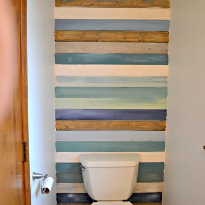 Coastal Planked Wall {Half Bath Update Part One}
