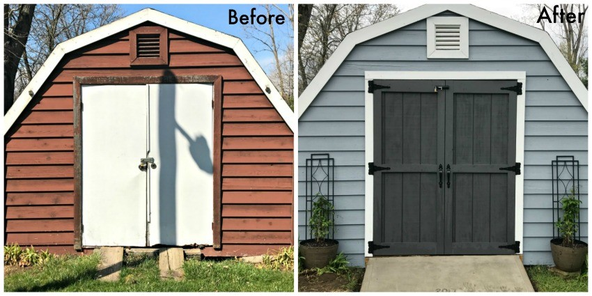 See More Details On Our Farmhouse Shed Makeover BELOW!