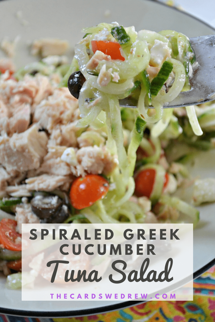 Spiralized Greek Cucumber Tuna Salad