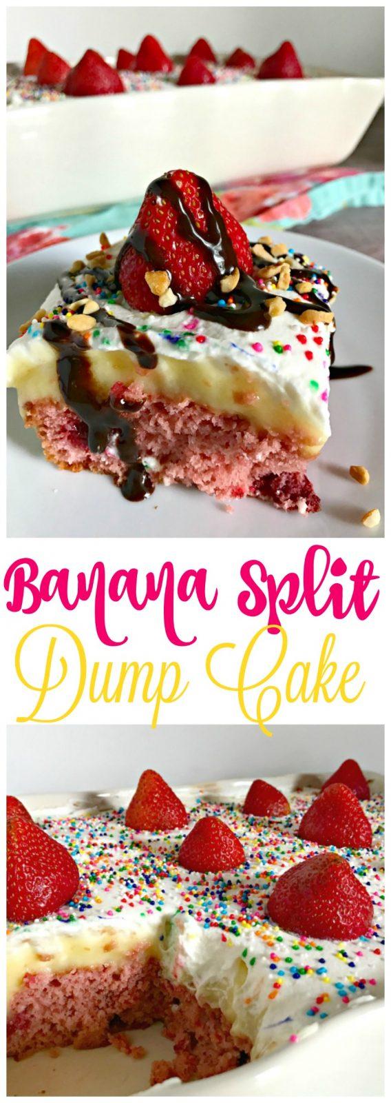 strawberry banana split dump cake