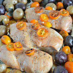 One Sheet Roasted Chicken and Potatoes with Kumquats