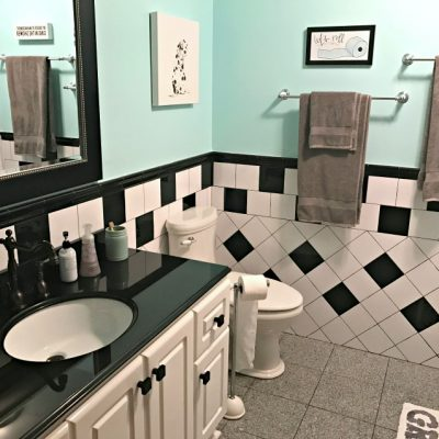 Retro Black White and Teal Bathroom Makeover on a Budget