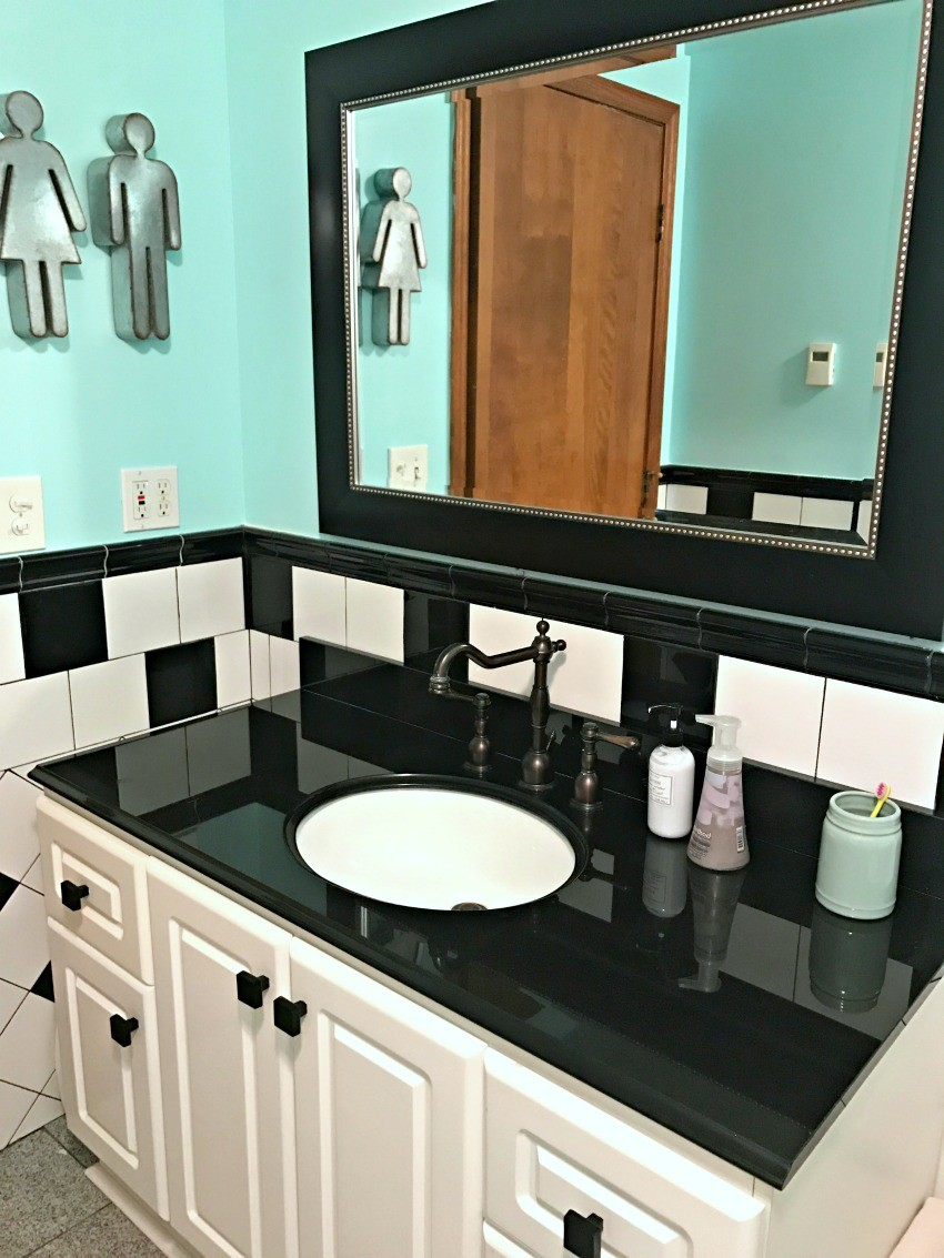 teal black and white bathroom update