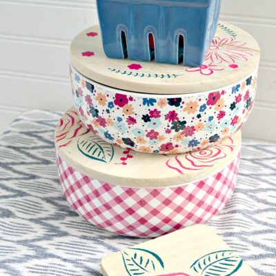 Stenciled Food Storage Containers {Handmade Gift Idea}
