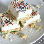 Birthday Cake No Bake Cheesecake Bars