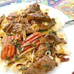 Spicy Beef Stir Fry over Noodles