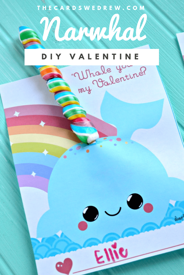 Get FREE kids Valentine's Printables here with this adorable and unique DIY Narwhal Valentine idea! If you like Unicorn Valentines then you will love this new Narwhal Valentine printable for your kids to make! #narwhal #printable #valentine #DIY