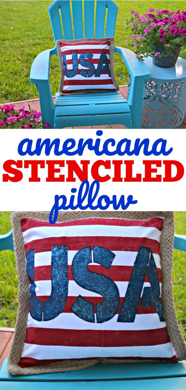 Americana Stenciled Pillow