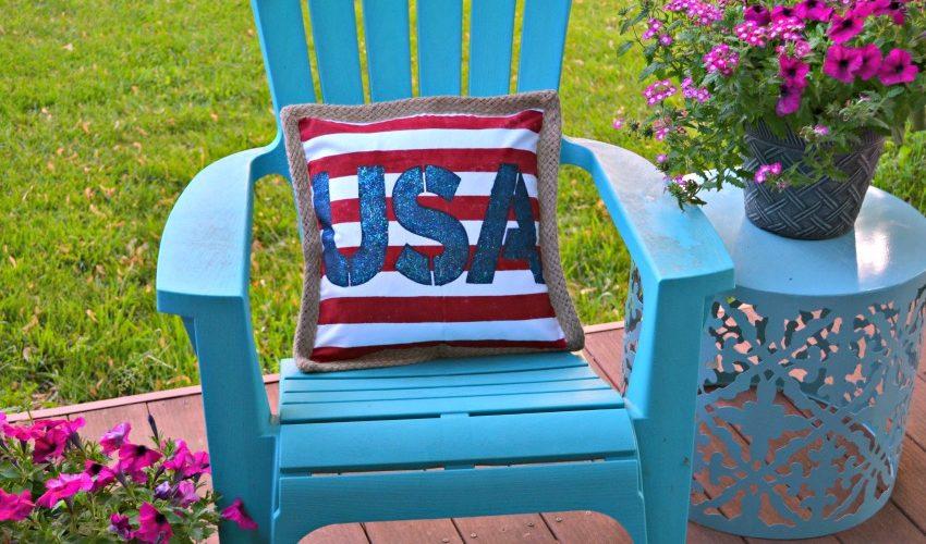 DIY Stenciled USA Pillow