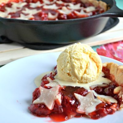 Stars and Stripes Grilled Cherry Skillet Pie