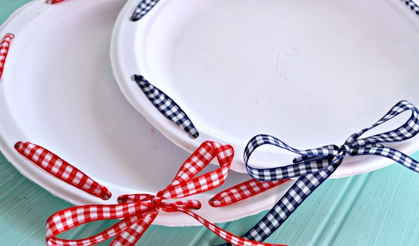 DIY Ribbon Wrapped Plates