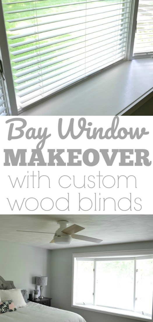 Bay Window Makeover with Custom Wood Blinds