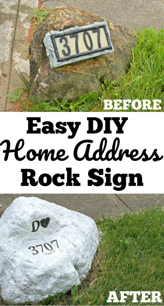 Easy Home Address Rock Sign Makeover