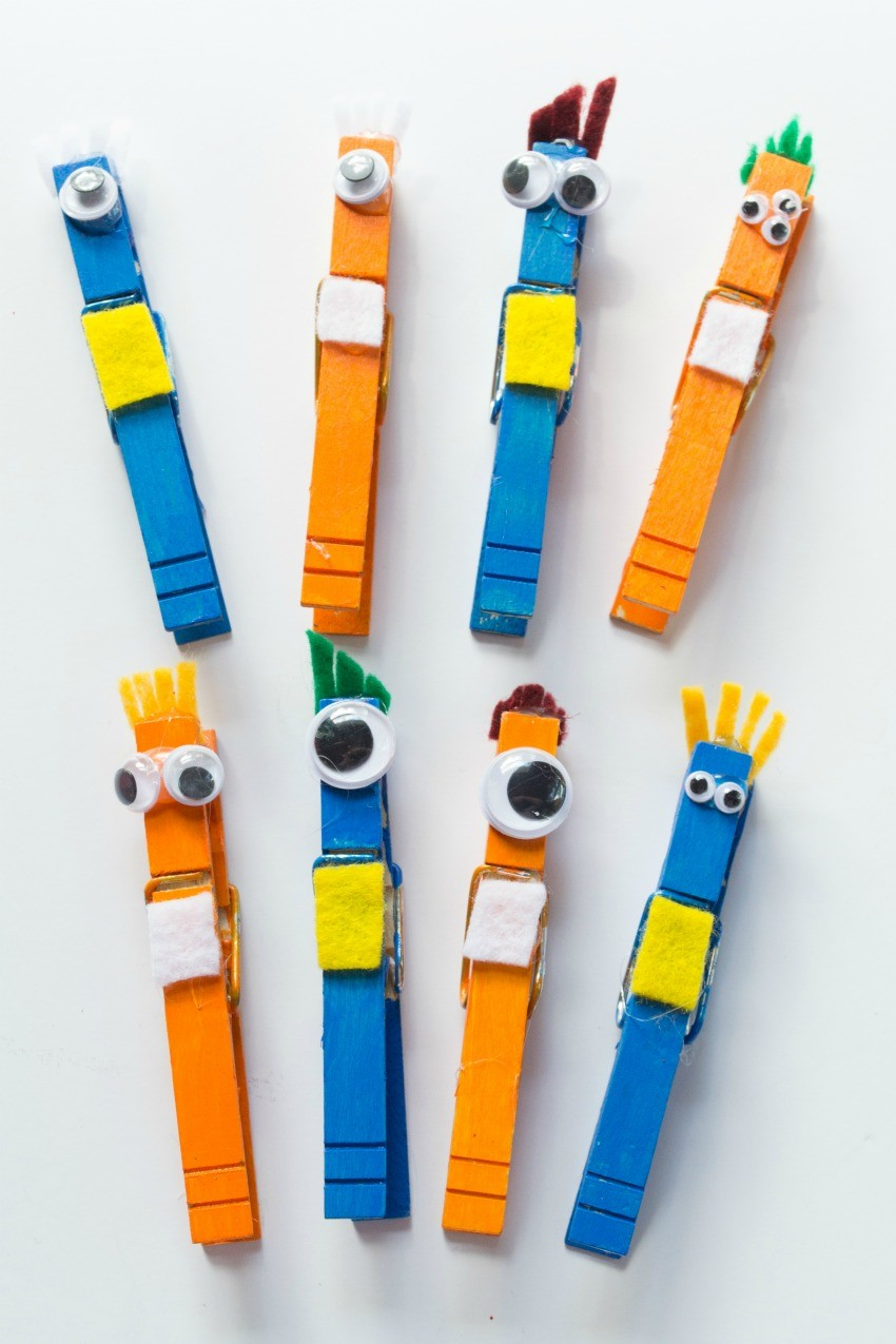 clothespin monsters