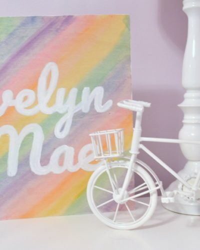 Rainbow Watercolor Nursery Name Sign