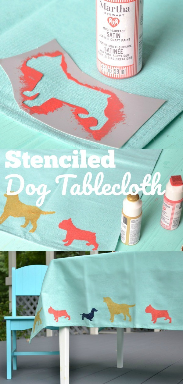 Stenciled Dog Tablecloth