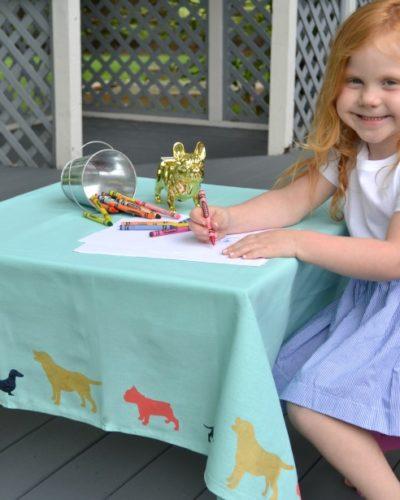 Kids Stenciled Dog Tablecloth