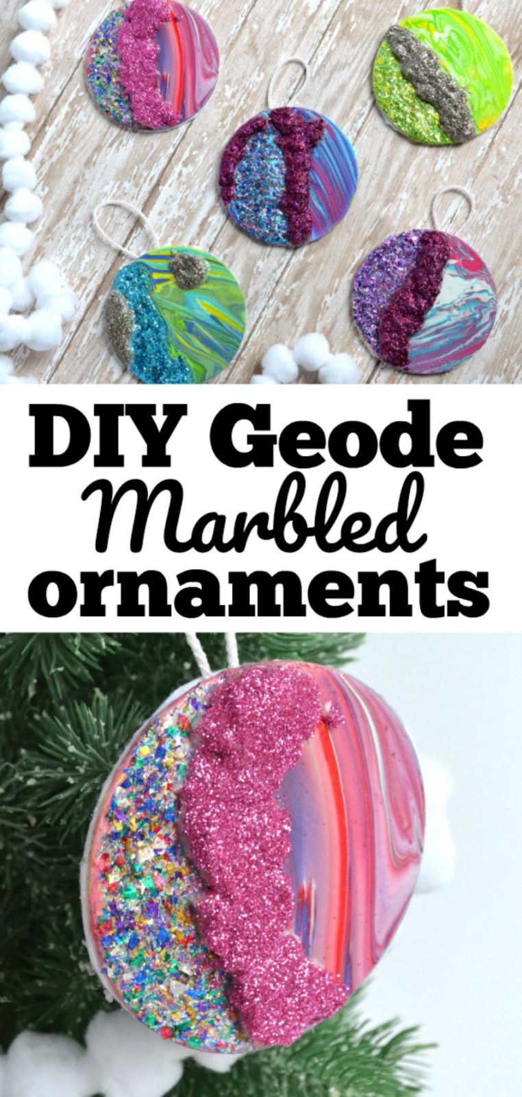 DIY Geode Marbled Christmas Ornaments